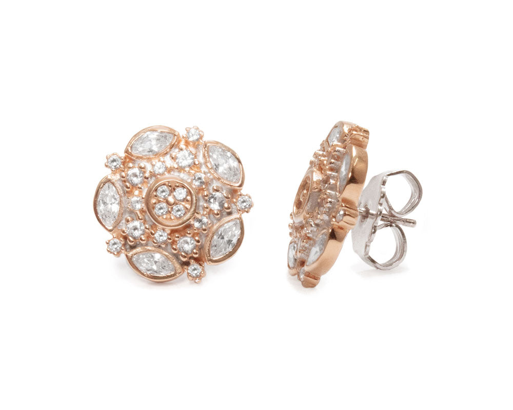 Studs for Girls Pink Gold Silver Plated 'Thai Rose Gold Celestial '