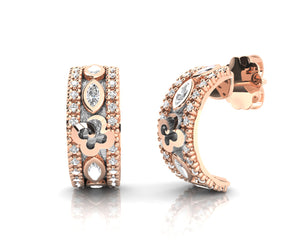 Girls' Silver Plated in Rose Gold Earrings 'Thai Rose Gold Half-Hoop '
