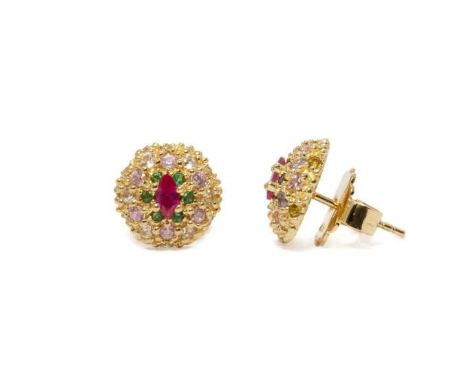 Thai Splash Shadow Pollen main view | Gold Plated Studs for Ladies | Kukka Jewelry