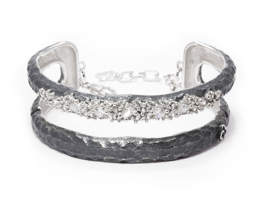 Moon Frostbite main view | in White Rhodium Plated Bracelet for Ladies | Kukka Jewelry