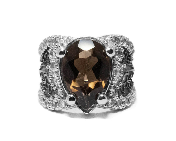 White Gold Plated Sterling Silver Ring 'Leaves Brown' for Girls