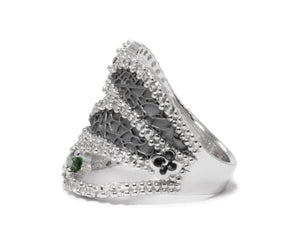 Leaves Green left view | White Gold Plated Ring for Her | Kukka Jewelry