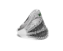 Leaves Green right view | White Gold Plated Ring for Her | Kukka Jewelry
