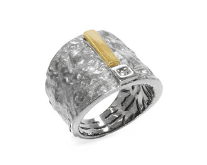 Core Magma Maximum up view | White Rhodium Silver Plated Ring for Guys | Kukka Jewelry