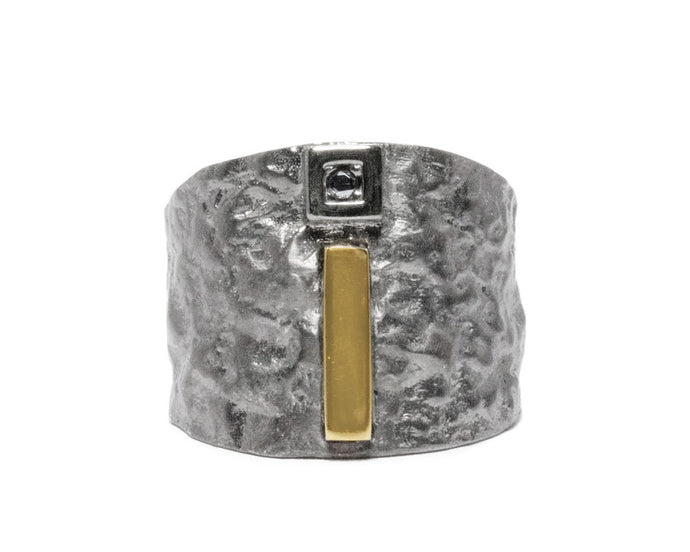 Men's 'Blaze Magma Forge' Ring Rhodium Silver Plated