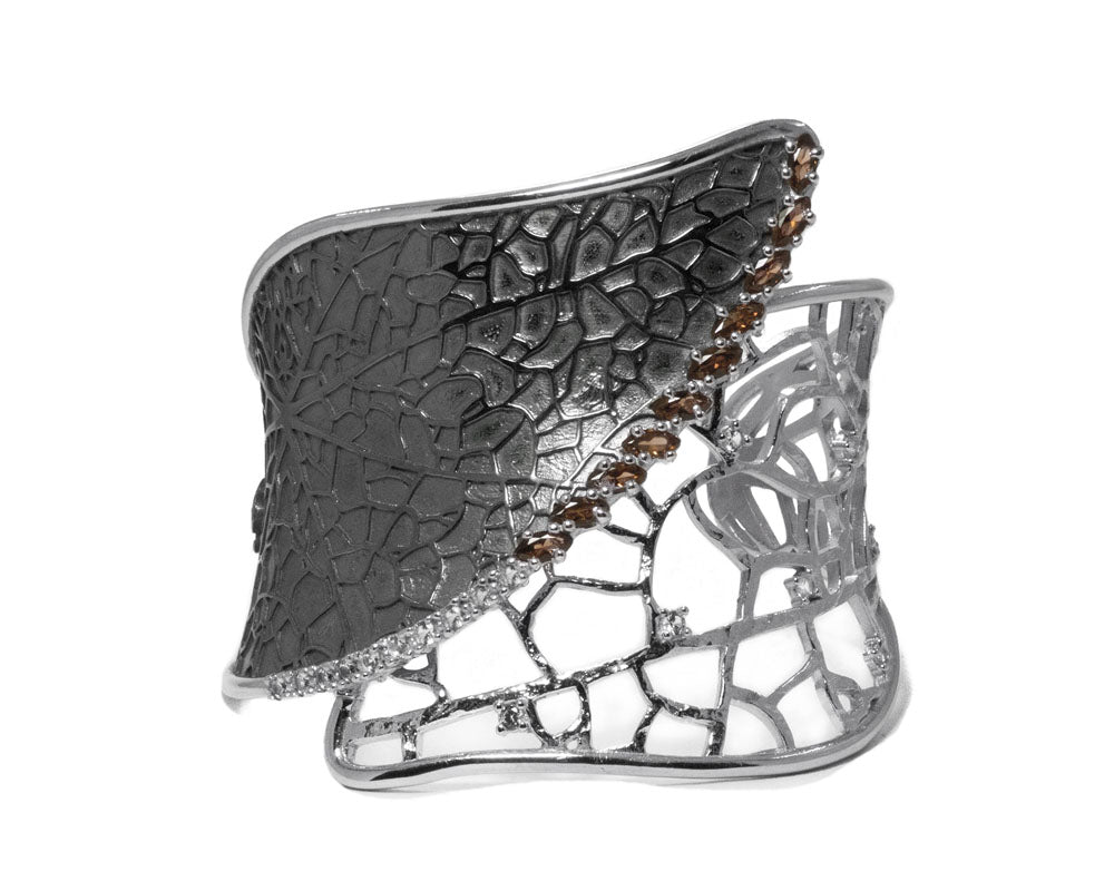 Leaves Harvest Lace | White Rhodium Cuff for Ladies | Kukka Jewelry