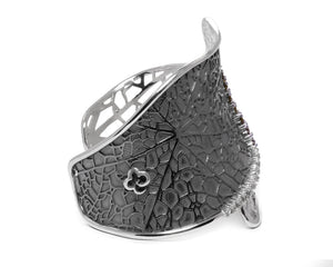 Leaves Harvest Lace | White Gold Cuff for Her | Kukka Jewelry