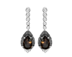Earrings for Ladies | Leaves Brown main view | 18kt White Gold Plated | Kukka Jewelry""
