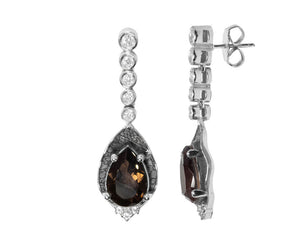 Earrings for Ladies | Leaves Brown side view | 18kt White Gold Plated | Kukka Jewelry""