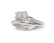 Ring for Ladies | Sweet Vanilla Crown left view | White Rhodium Sterling Silver Plated | Kukka Jewelry""