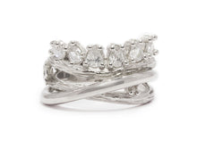 Ring for Ladies | Sweet Vanilla Crown | White Rhodium Sterling Silver Plated | Kukka Jewelry""