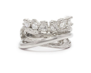 White Rhodium Sterling Silver Plated Ring 'Sweet Vanilla Crown ' for Ladies