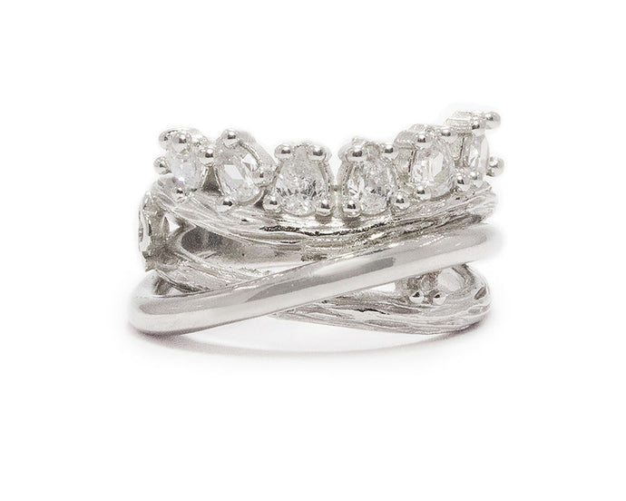 Ring for Ladies | Sweet Vanilla Crown | White Rhodium Sterling Silver Plated | Kukka Jewelry