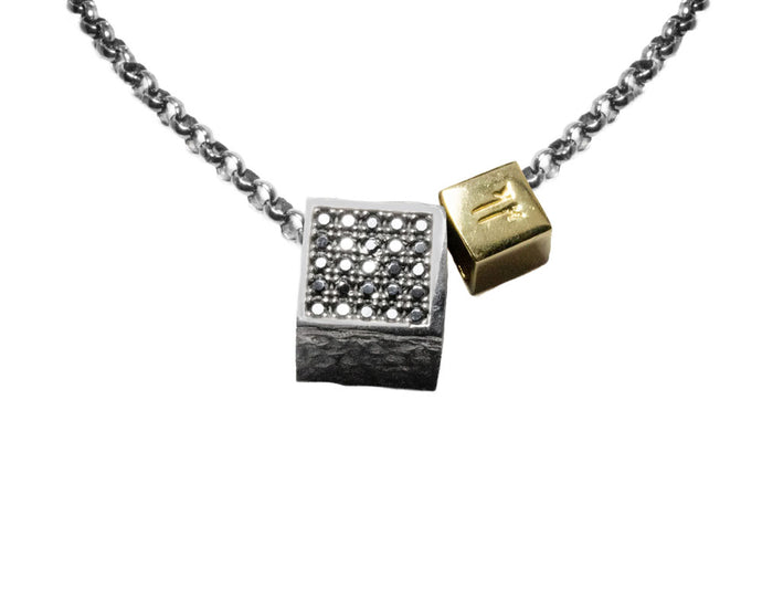 White Gold Plated Pendant for Him 'Core Magma Magnetism'