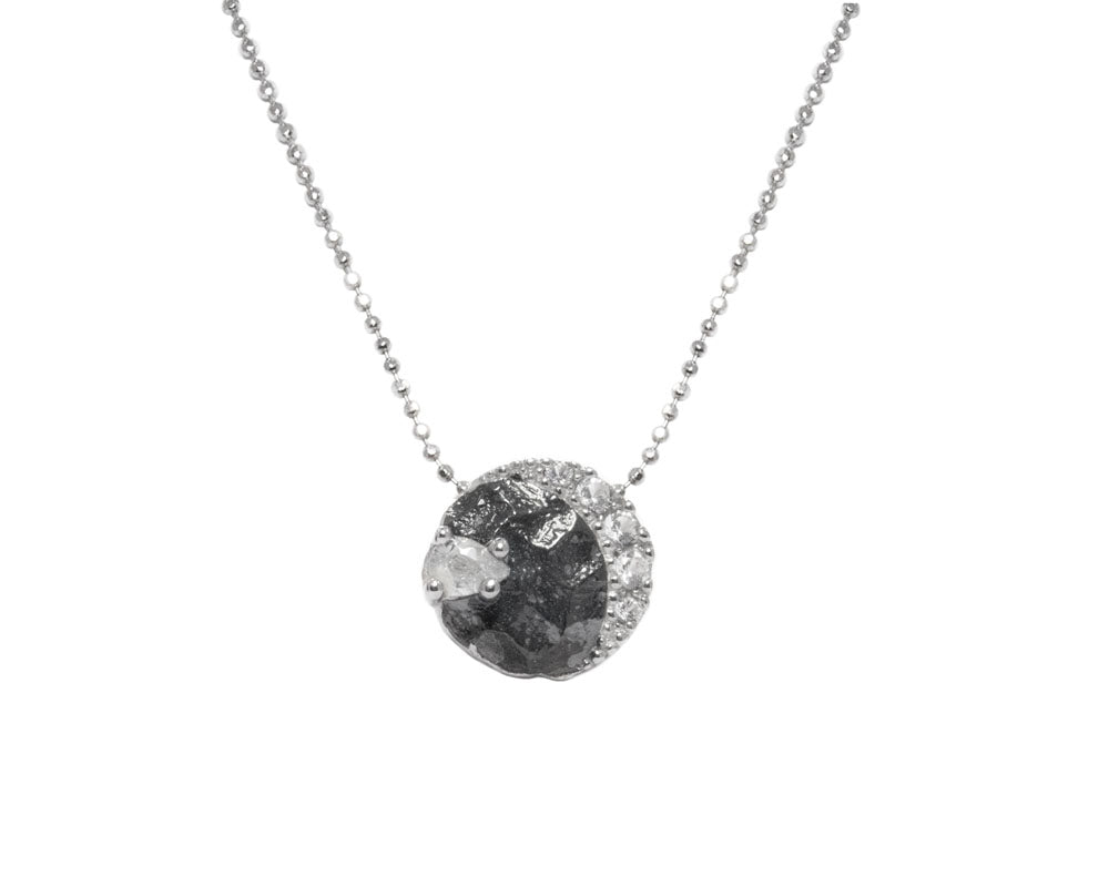 Moon Eclipse main view | 18kt White Gold Plated Pendant for Her | Kukka Jewelry