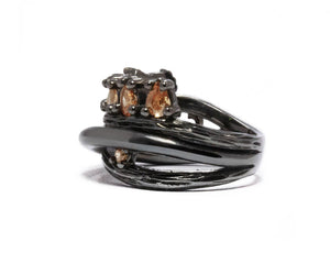 Women's Black Rhodium Plated Ring | Bourbon Vanilla Crown left view | Kukka Jewelry
