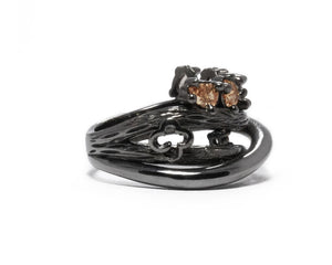 Women's Black Rhodium Plated Ring | Bourbon Vanilla Crown right view | Kukka Jewelry