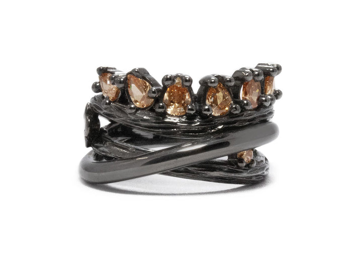 Women's Black Rhodium Plated Ring | Bourbon Vanilla Crown | Kukka Jewelry