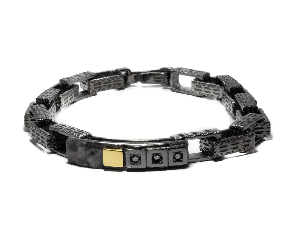 Men's 'Blaze Magma Forge' Bracelet Rhodium Plated Sterling Silver