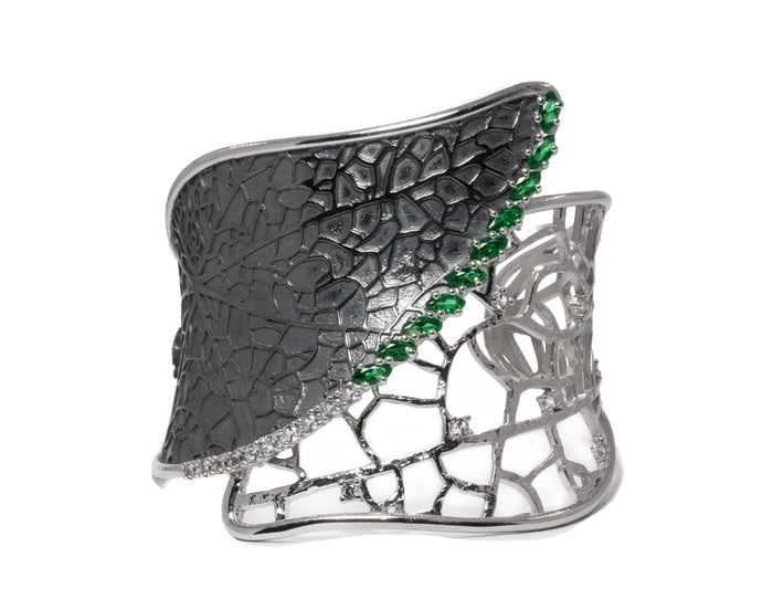 Leaves Verdant Lace | White Rhodium Cuff for Her | Kukka Jewelry
