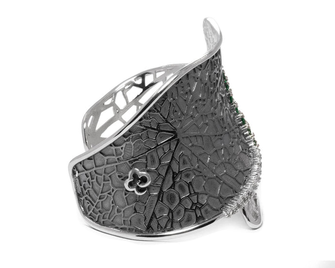 Women's Cuff White Rhodium Plated 'Leaves Verdant Lace'