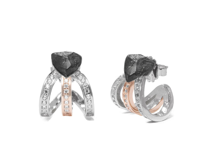 Women's Earrings Rose Gold Plated 'Obsydian Rose Molten '