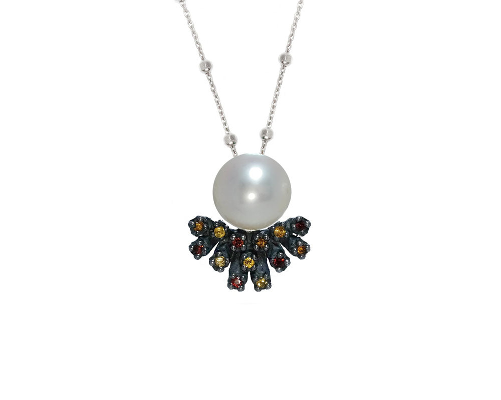 Black Gold Sterling Silver Plated 'Alma Perla Sunset' Women's Necklace