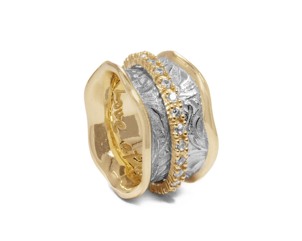 Women's 'Gold Secret-Keeper ' Gold Silver Plated Ring