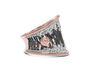 Woods Stars right view | Rose Gold Sterling Silver Plated Ring for Her | Kukka Jewelry