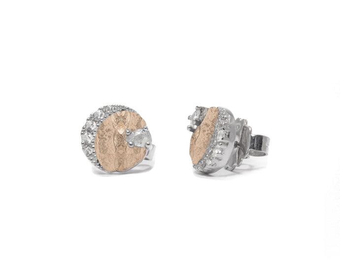 Women's 'Rose Moon Eclipse ' Studs Pink Gold Plated