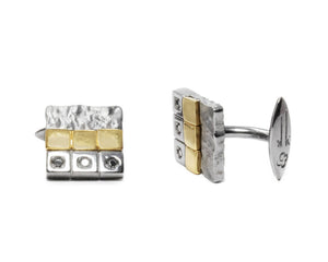 Men's 18kt White Gold Plated Cufflinks | Core Magma Unearth side view | Kukka Jewelry