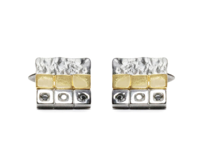 Men's in White Gold Plated Cufflinks 'Core Magma Unearth'