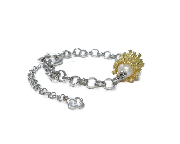 Bracelet for Women with Yellow Gold Plated 'Alma Perla Sol Gloss'