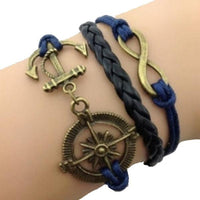 Infinity Compass Rustic Anchored Wrist Piece