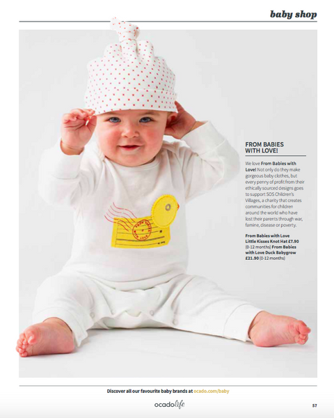 Ocado Life features our Duck baby grow and Little Kisses knot hat