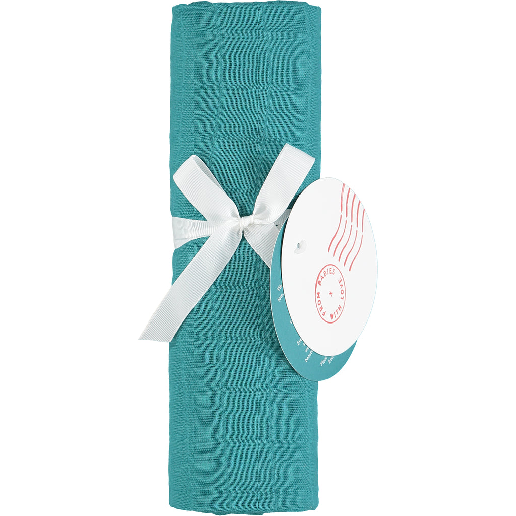 Teal muslin swaddling wrap - Teal organic baby gift set - large - Send love and kindness with our Waves of Joy organic baby grow, knot hat, bandana bib and muslin swaddling wrap, a heartfelt and beautiful baby gift.