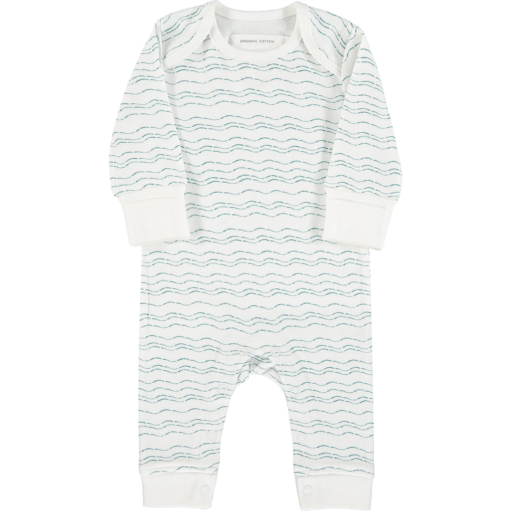 Baby grow - Teal organic baby gift set - large - Send love and kindness with our Waves of Joy organic baby grow, knot hat, bandana bib and muslin swaddling wrap, a heartfelt and beautiful baby gift.