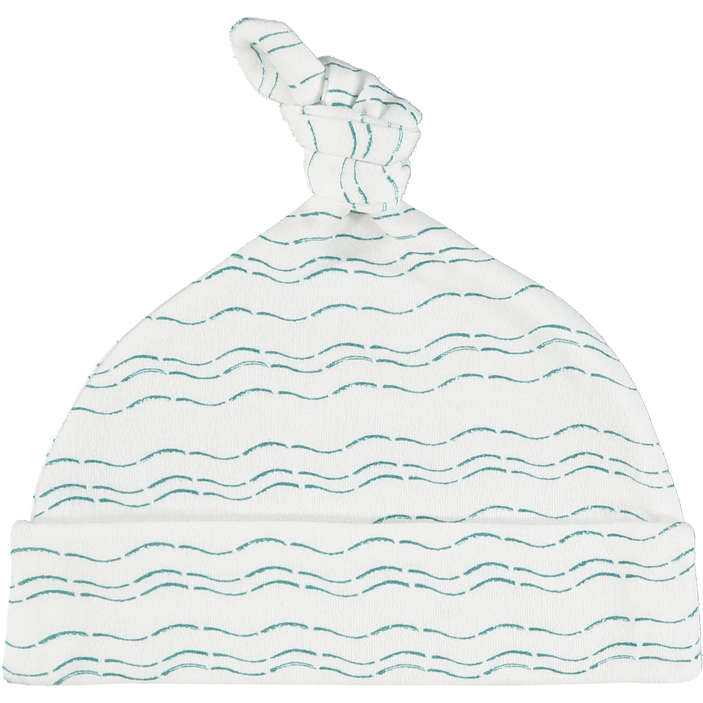 Knot hat - Waves of Joy organic baby gift set - large - Send love and kindness with our Waves of Joy organic baby grow, knot hat, bandana bib and muslin swaddling wrap, a heartfelt and beautiful baby gift.