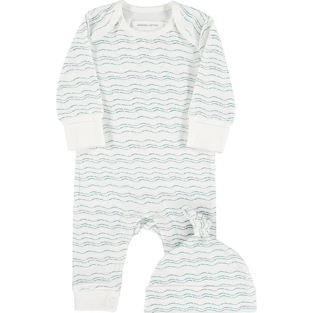 Waves of Joy organic baby gift set - small - Send love and kindness with our Waves of Joy organic baby grow and knot hat , a heartfelt and beautiful baby gift.