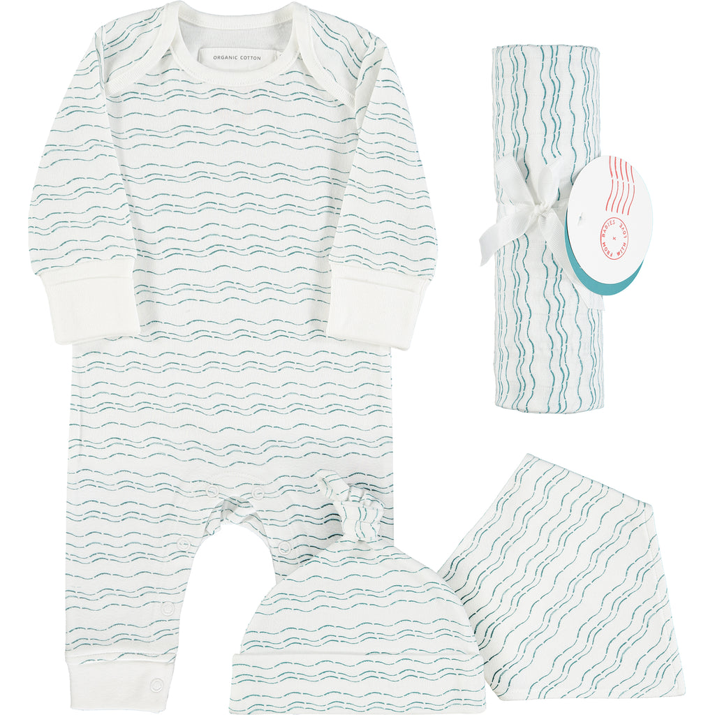 Waves of Joy organic baby gift set - large - Send love and kindness with our Waves of Joy organic baby grow, knot hat, bandana bib and muslin swaddling wrap, a heartfelt and beautiful baby gift.