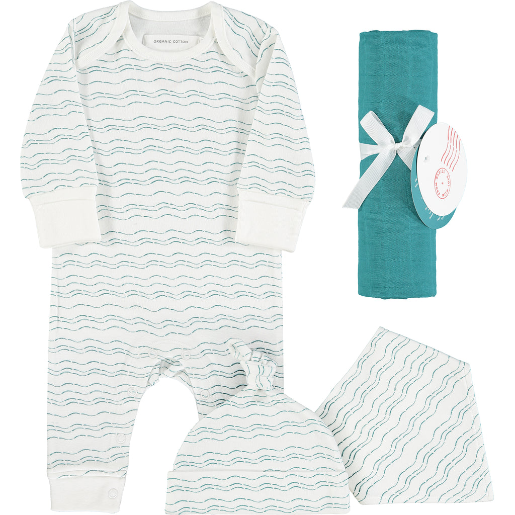 Teal organic baby gift set - large - Send love and kindness with our Waves of Joy organic baby grow, knot hat, bandana bib and muslin swaddling wrap, a heartfelt and beautiful baby gift.