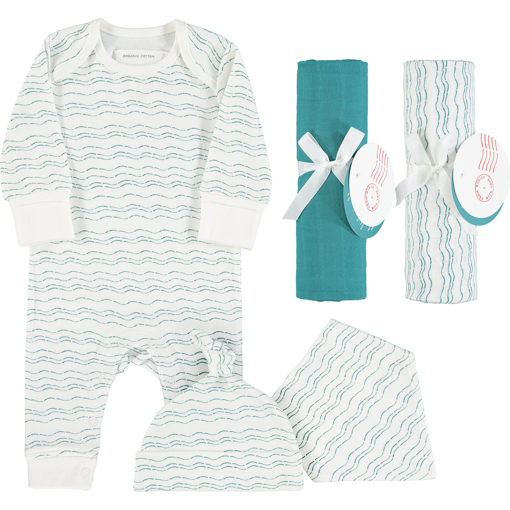 Send love and kindness with our Waves of Joy organic baby grow, knot hat, bandana bib and two muslin baby shawl + swaddling wraps, a heartfelt and beautiful baby gift.