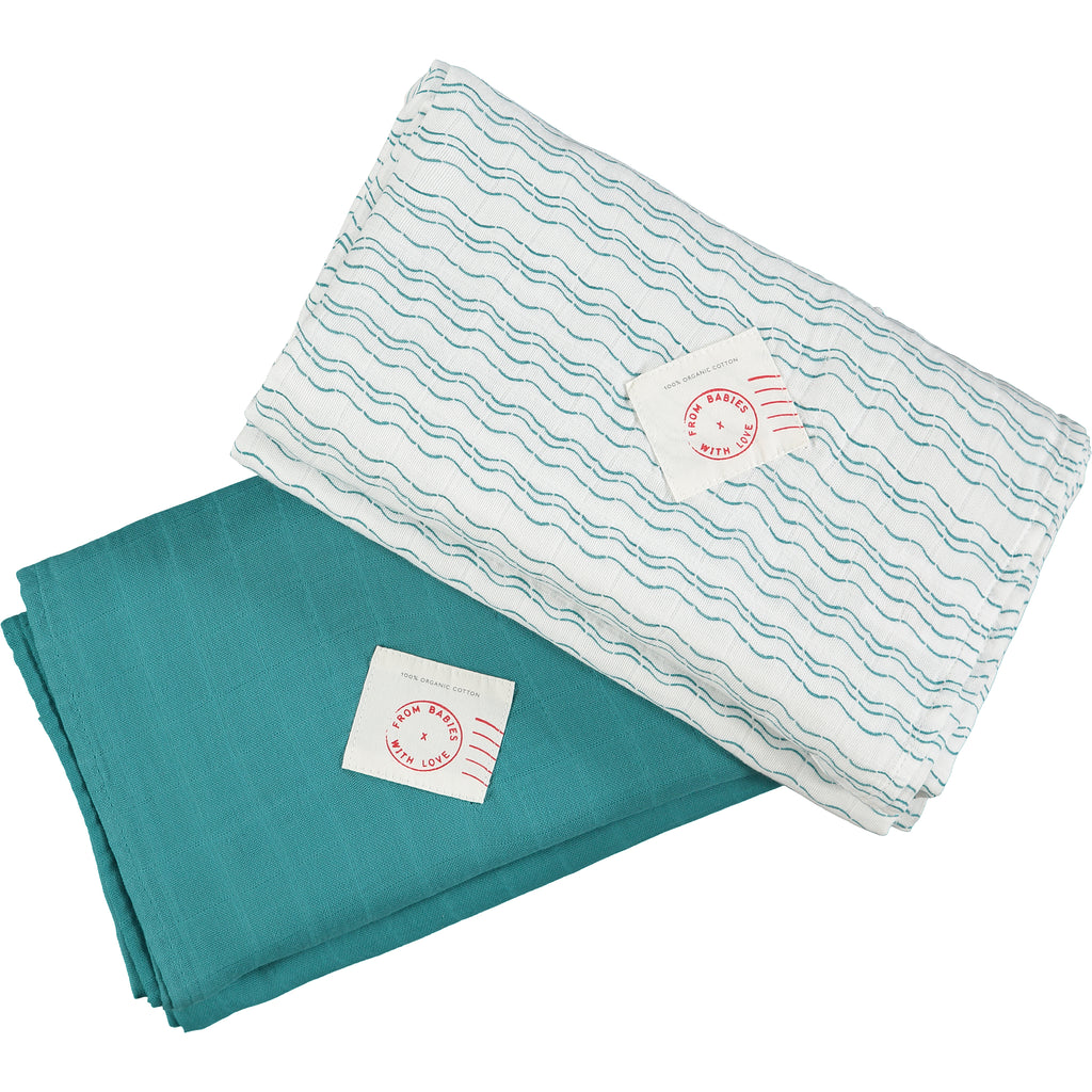 Teal and wave set - Send love and kindness with our Waves of Joy organic muslin baby shawl + swaddling wrap, a heartfelt and beautiful baby gift.