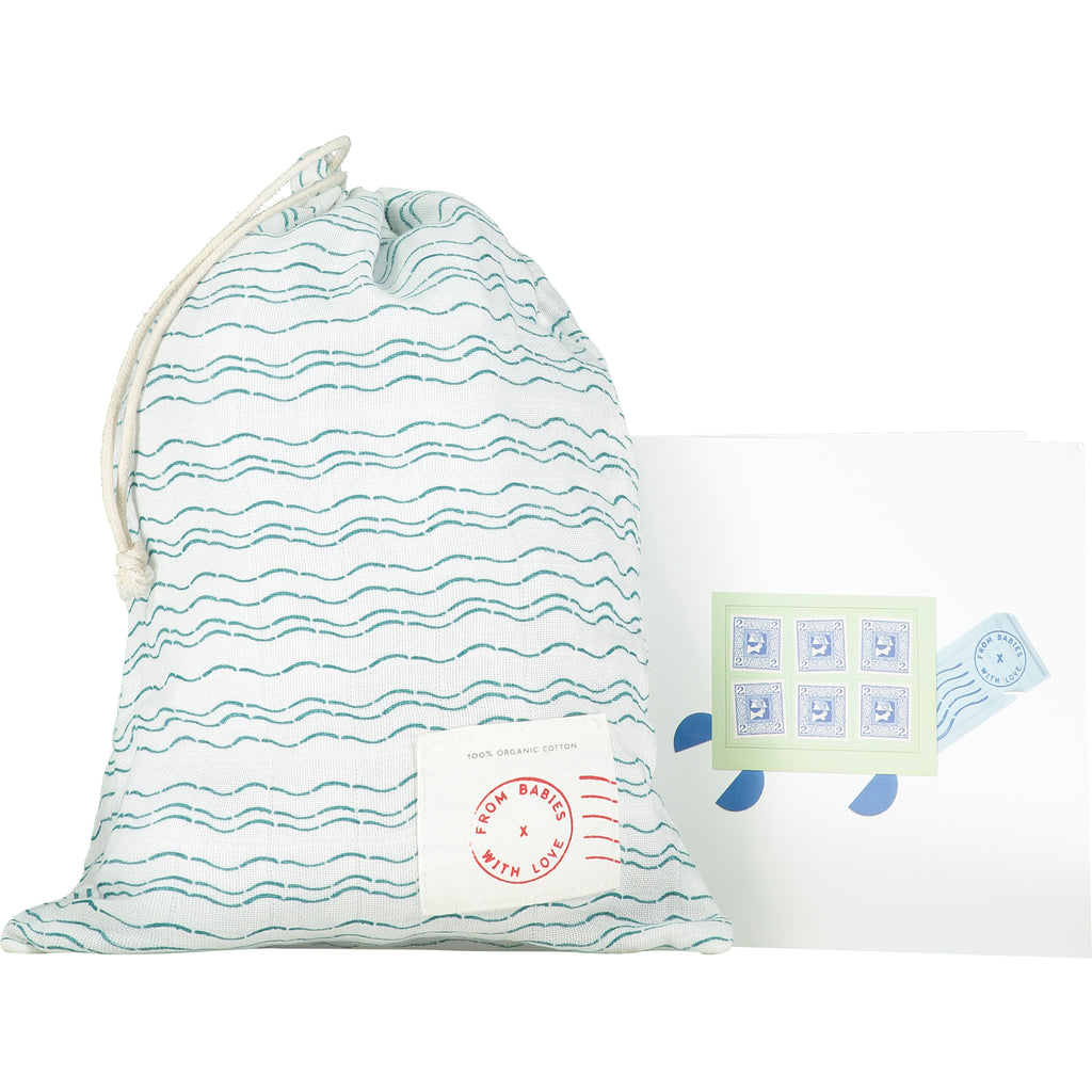Gift bag and card - Send love and kindness with our Waves of Joy organic baby grow, knot hat, bandana bib and two muslin baby shawl + swaddling wraps, a heartfelt and beautiful baby gift.