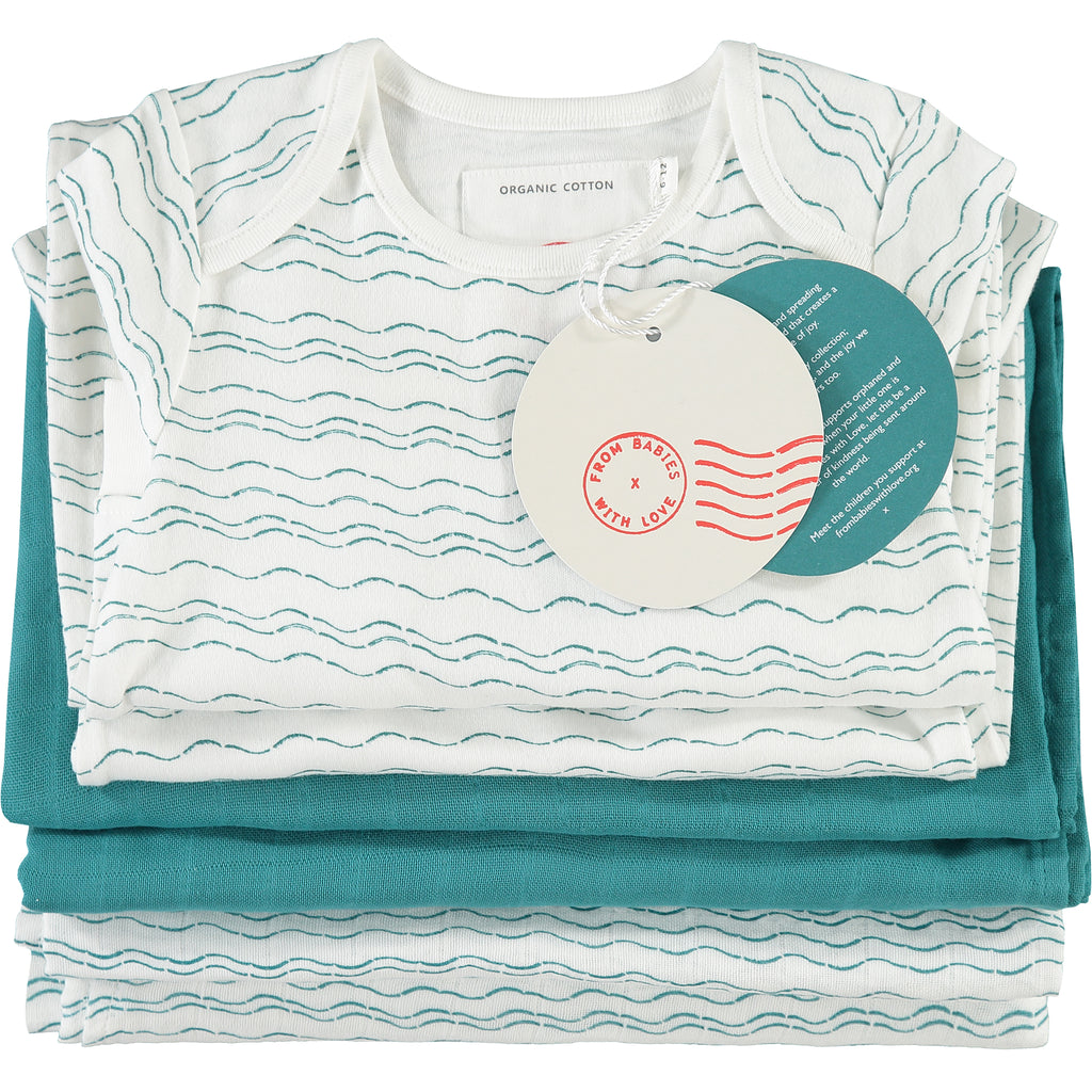 Folded - Send love and kindness with our Waves of Joy organic baby grow, knot hat, bandana bib and two muslin baby shawl + swaddling wraps, a heartfelt and beautiful baby gift.