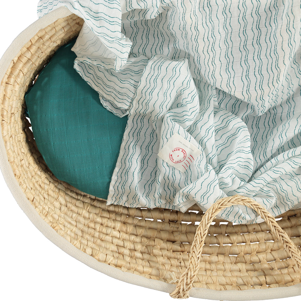 Baby basket - Waves of Joy organic muslin baby shawl - Send love and kindness with our Waves of Joy organic muslin baby shawl + swaddling wrap, a heartfelt and beautiful baby gift.