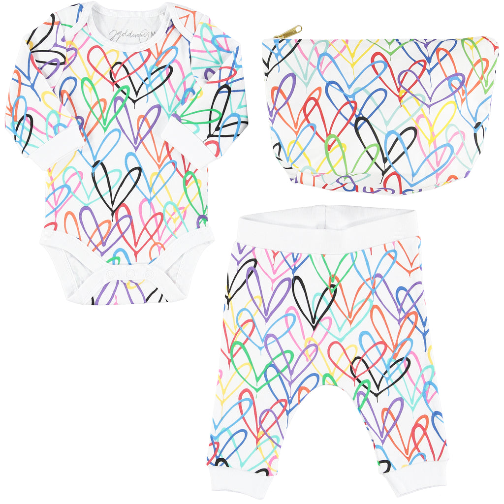 #Lovewall organic baby bodysuit and joggers set - James Goldcrown x From Babies with Love