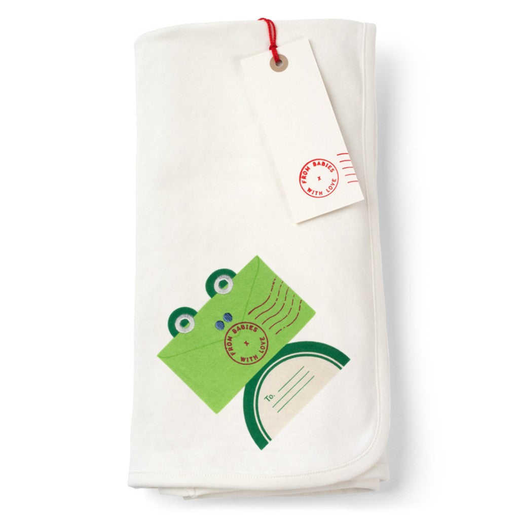 Frog and Kisses Reversible Pram Blanket Made From 100% Organic Cotton. Free Drawstring Gift Bag and Greetings Card with All Profits To Abandoned Children.