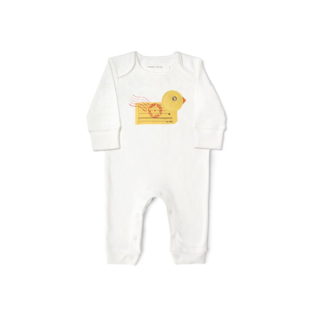 Duck Baby Grow Made From 100% Organic Cotton. Free Drawstring Gift Bag and Greetings Card with All Profits To Abandoned Children.