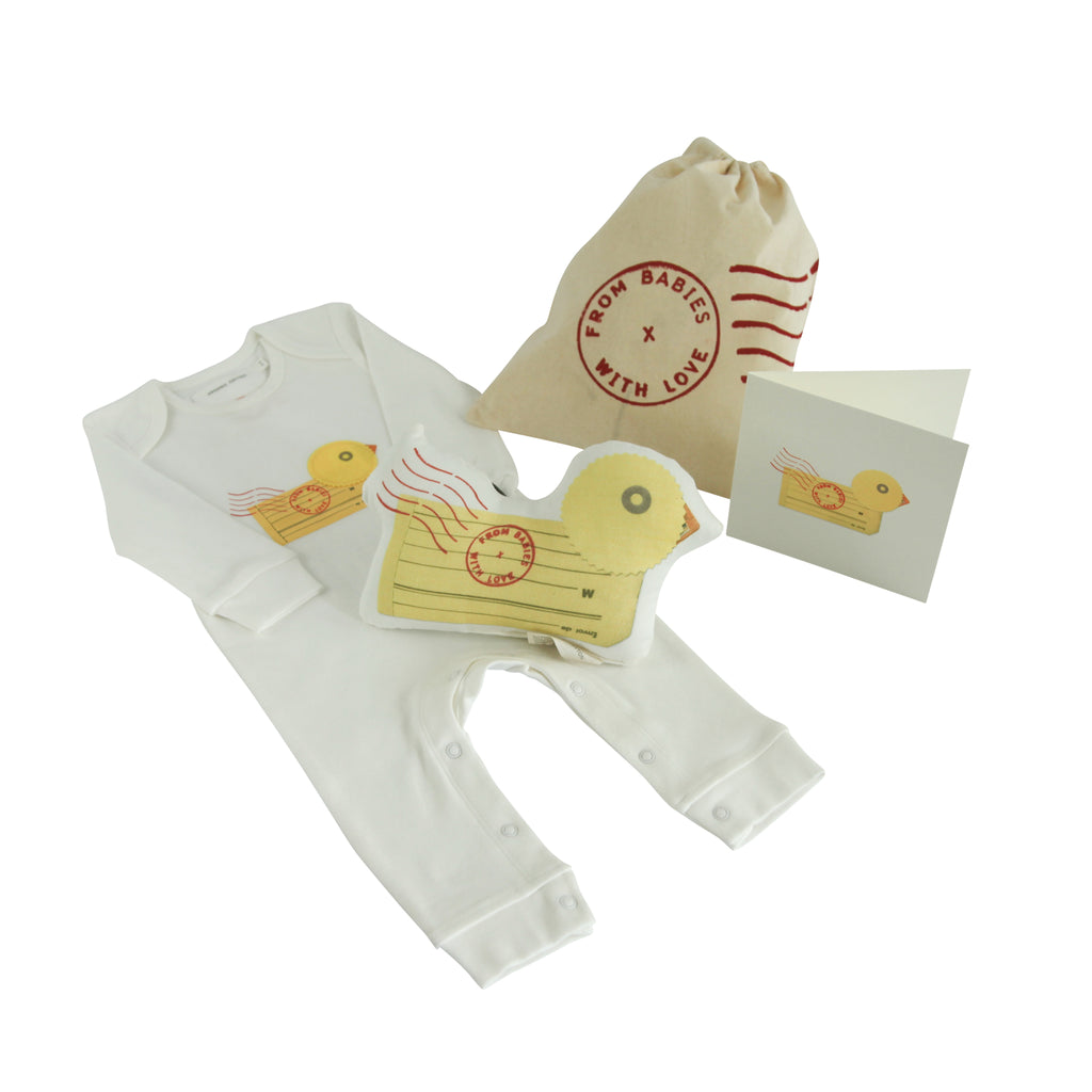 Duck organic baby grow and soft toy